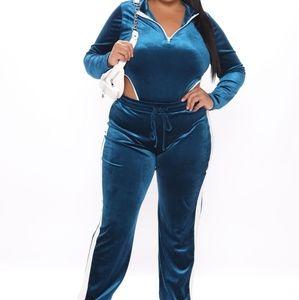 Fashion Nova In A Rush Velvet Bodysuit Jogger Set